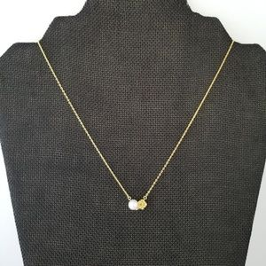 Jewelry - 18k Over Sterling Pearl and Diamond Necklace